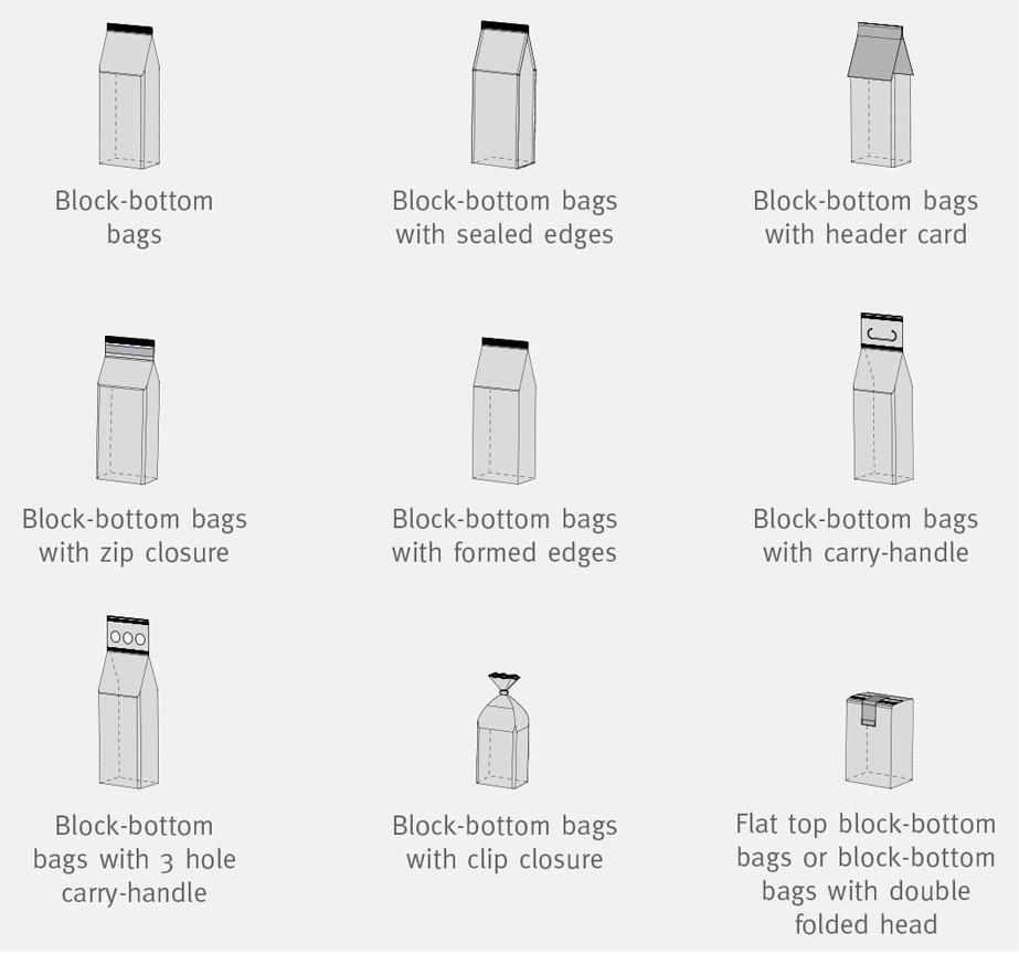 HVM - HORIZONTAL BAG CLOSING MACHINE - Bag Types